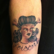 "Sailor Jerry's ""Poison"" design with my personal twist on it."