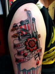 Keepin it old skool. On Fellow tattooer Jeremy Lee. More to come.