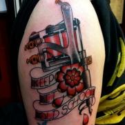 Keepin it old skool. On Fellow tattooer Jeremy Lee. More to come.