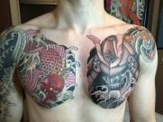 dragon koi and samurai helmet